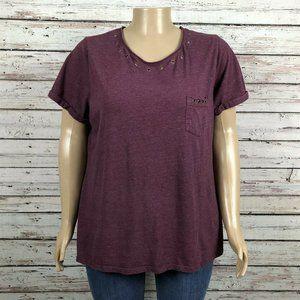 Terra & Sky Grommet Heather Purple T-shirt Top 2X